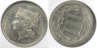 1868 3� Nickel 108�cw